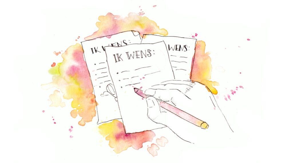 illustratie Petra van Dreumel, 40 dagen dromen, wensen , wet van aantrekkingskracht, illustration watercolor