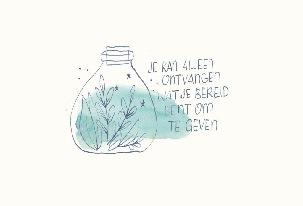 waterverf illustratie ontvangen en geven Petra van Dreumel